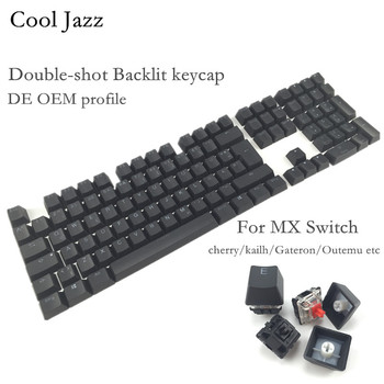 Cool Jazz Double-shot Black White Thick PBT DE ISO layout 108 backlit Keycaps OEM Profile Keycap For MX Mechanical Keyboard