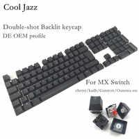 Cool Jazz Double-shot noir blanc épais PBT DE mise en page ISO 108 rétro-éclairé Keycaps OEM profil Keycap pour clavier mécanique MX