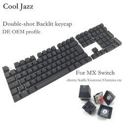 Cool Jazz podwójny strzał czarny biały gruby PBT DE ISO układ 108 podświetlane klawisze profil oem Keycap na klawiatura mechaniczna mx