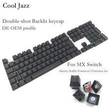 Serin caz çift vuruşlu siyah beyaz kalın PBT DE ISO düzeni 108 arkadan aydınlatmalı OEM profil klavye için MX mekanik klavye