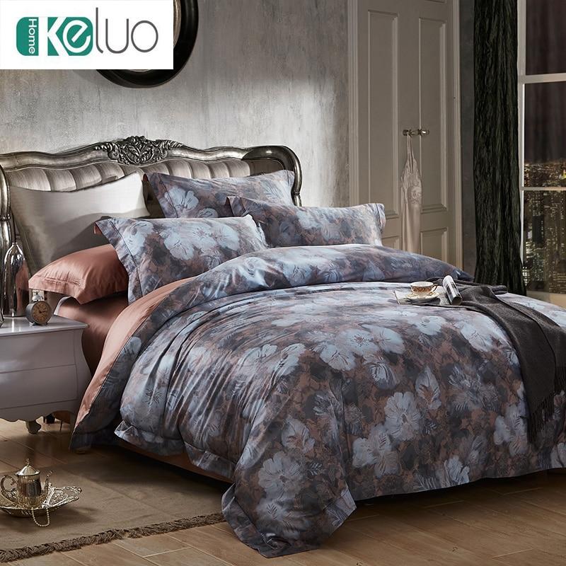 KELUO Luxury Bohemia Mandela Bedding set 100S Egypt Cotton Queen/King Size  Bed set Duvet Cover Bedsheet Pillowcase Gray flowers