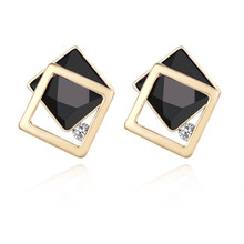 183 Fashion New Design Wedding Jewelry Luxury Shinning Simple Black Earrings Elegant Navy Blue Geometric Stud Earrings For Women(China)