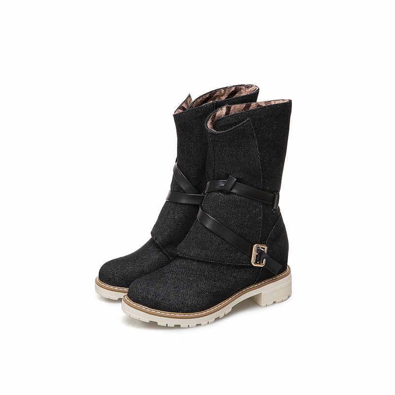 AIWEIYi/женские ботильоны из джинсовой ткани с круглым носком на низком квадратном каблуке, Ботинки martin с ремешком и пряжкой