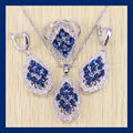 Reginababy Silver color Blue simulated Sapphire White created Topaz  Women Wedding Jewelry Set Ring/earrings/Necklace/Pendants