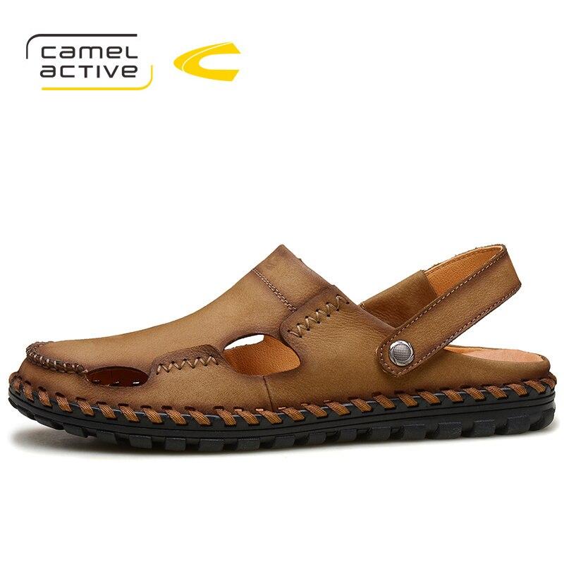 Camel Active/Брендовая обувь; Новинка 2018 года; летние мужские сандалии; Дизайнерские мужские тапочки из натуральной кожи; модная мужская пляжная