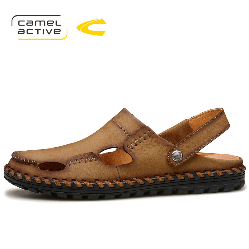 Camel Active Brand Shoes 2018 Summer New Mens Sandals Designer Genuine Leather Mens Cowhide Slippers Fashion Man Beach Shoes