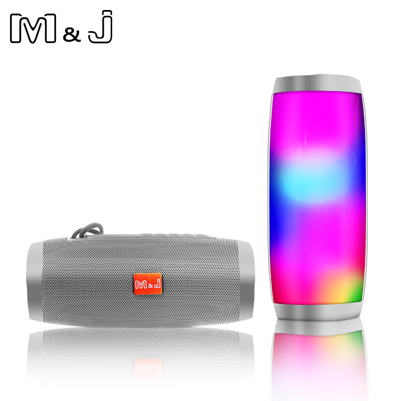 M&J Bluetooth Speaker LED Portable Wireless Speaker Mini Sound System 3D Stereo Music MP3 Player Surround Support TF AUX USB newest original xiaomi bluetooth speaker wireless stereo mini portable mp3 player for iphone samsung handsfree support tf aux
