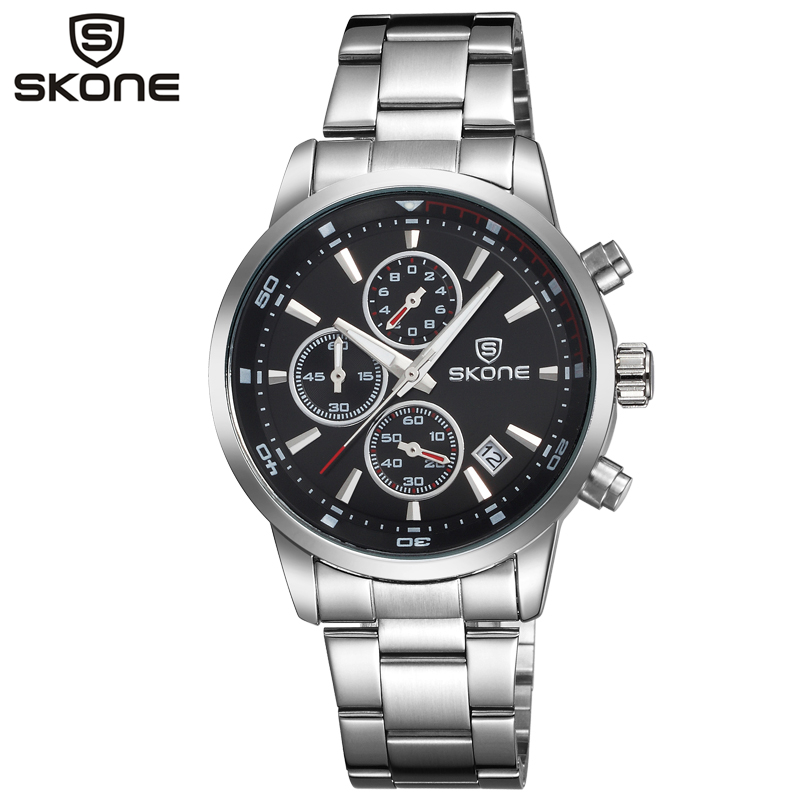 SKONE Watch Chronograph Mens Watches Auto Date Fashion Casual Sports Watches Men Clock Quartz Stainless Steel Wrist Watch Male new men stainless steel gold watch luxury brand auto date mens quartz clock roman scale sports wrist watches relogio masculino