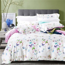 2017 purple floral butterfly bedding   sets cotton bed sheets bed linen cover bedspread