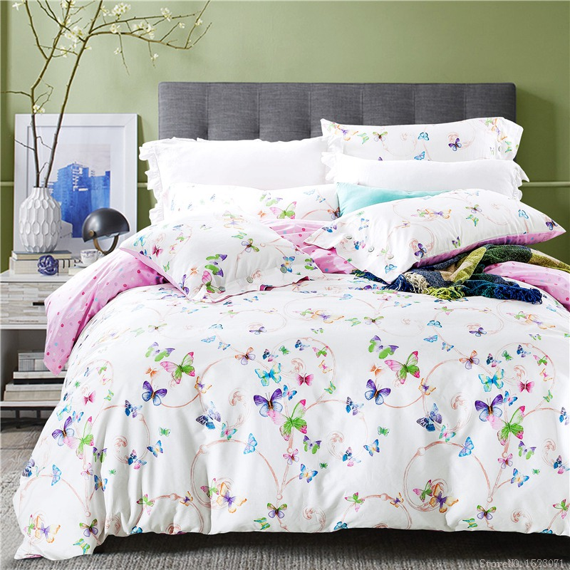 2017 purple floral butterfly bedding sets cotton bed ...