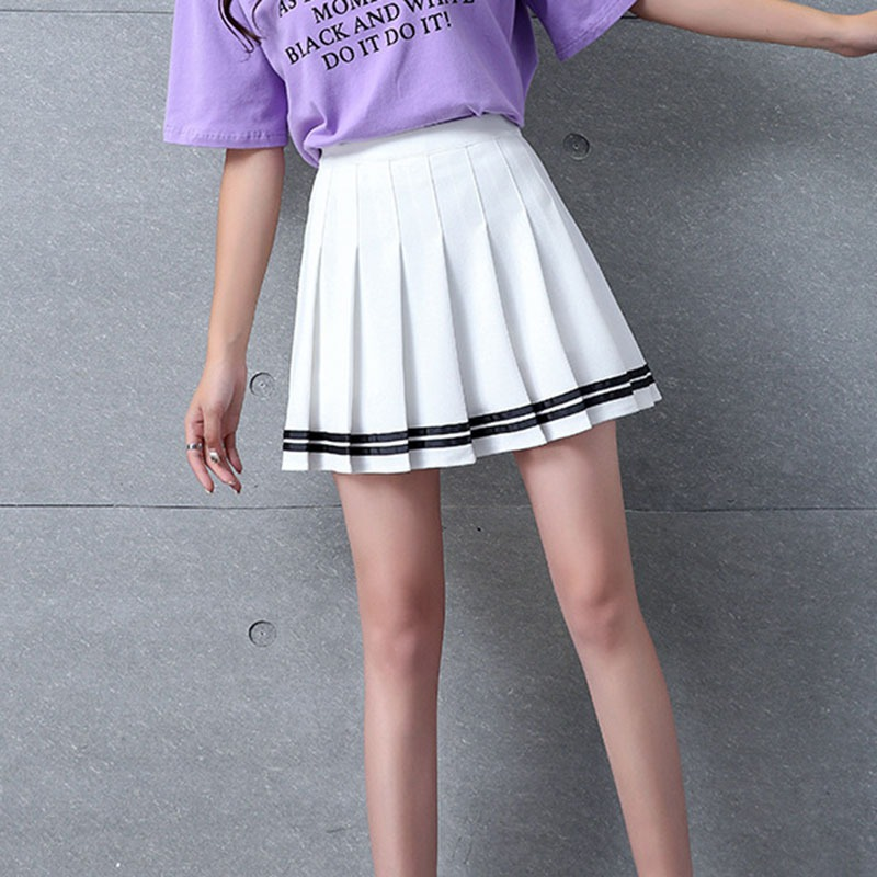 High Waist Striped Print Pleated Stitching Skirts Student Elastic Waist Pleated Skirt Sweet Girls Skirt