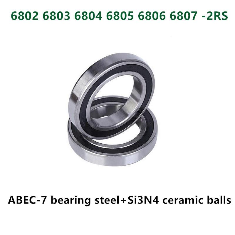 4pcs ABEC-7 6802 6803 6804 6805 6806 6807 -2RS Hybrid Ceramic Bearing Bicycle Bottom Brackets Spares Bike Si3N4 Ball Bearings