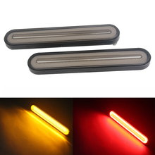 2 Pcs Trailer Truck Brake Tail  Light Stop Turn Signal Lamp Sequential Flowing Neon Halo Ring Waterproof Red/Yellow Bi-color