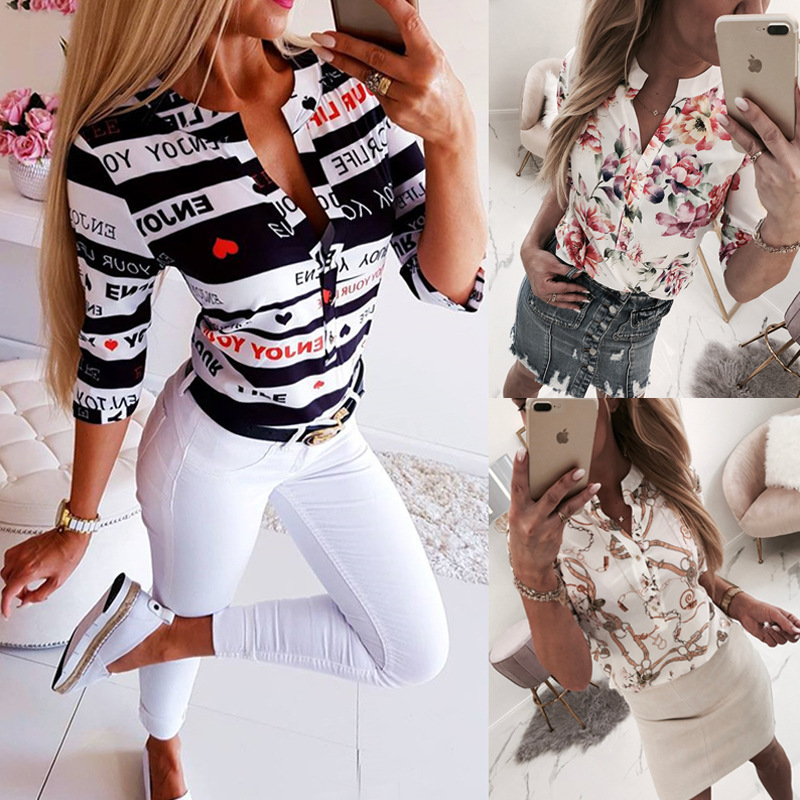 Summer   Blouse     Shirt   Women Floral Print V Neck Half Sleeve Loose Casual   shirt   Tops