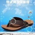 2017 Homens Sandálias Da Praia do Verão Chinelos De Borracha Confortáveis Homens Moda Genuínos Sandálias de Couro Fresco dos homens Casuais Ao Ar Livre Sapatos 6812 T