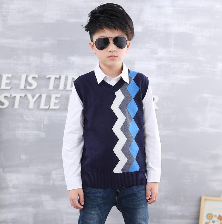 Sleeveless V Neck Sweater For A Boys Autumn Winter Striped Knitted Vest Roupa Infantil Menino Woolen Children's Sweaters tu teng women elegant doctor bag 2 way tote luxury leather pure color 2018 fashion zipper elegant design lady black khaiki red
