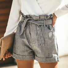 Women Striped High Waist Shorts Office Lady Summer Casual Beach Hot sexy Short Pants Clothing