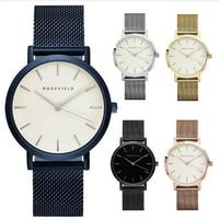 ROSEFIELD Mesh Roestvrij Staal Horloges Vrouwen Top quartz horloge Merk Luxe Casual Klok Dames Polshorloge Relogio Feminino Gift