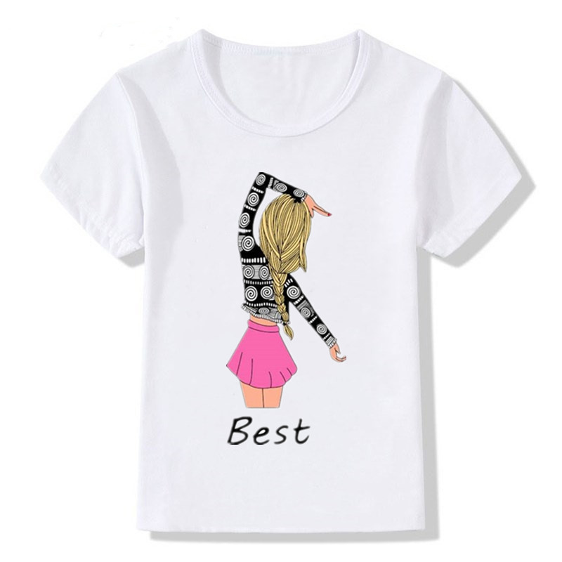 Funny T-<font><b>Shirts</b></font> <font><b>Best</b></font> <font><b>Friends</b></font> Print Baby <font><b>Kids</b></font> Girl T <font><b>Shirt</b></font> Summer Cotton Polyester Short Sleeve Tops Summer T-<font><b>shirts</b></font> image
