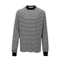 Relaxed Fit Black&White Striped Tshirt Hiphop Mock Neck Long Sleeve Oversize Tops Streetwear