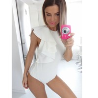 Yienws Summer Sexy Bodysuit Mujer Self Portrait Ruffles Elegant Jumpsuit White Rompers Women Sugarbird Combinaison Short