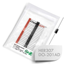 (20 Pcs) HER307 High Efficiency Rectifier Diode 3A 800V 50-70ns DO-201AD (DO-27) Axial 3 Amp 800 Volt HER 307 Diodes