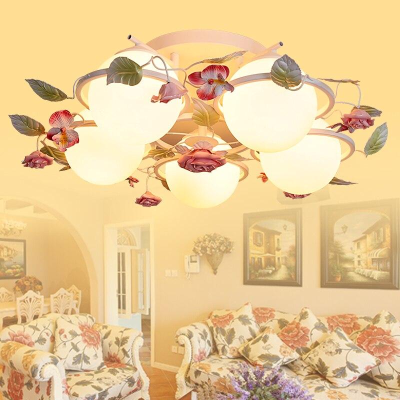 110V-220V Led e27 pastoral style chandelier living room ceiling lamp fixture Korean romantic flowers high quality princess room farmhouse resin living room chandelier led e27 lamp 110v 220v 3 head suspension chandelier lighting