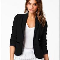 New 2017 thời trang thu winter woman lady blazer top casual áo khoác coat CV phù hợp với dài tay rắn bông làm việc mặc S ~ 2XL