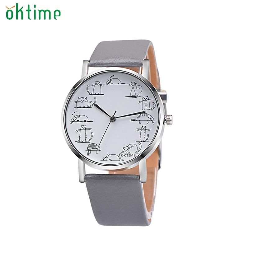 Часы Для женщин ретро Дизайн прекрасный кот кожаный ремешок аналоговых сплав кварца девушки наручные часы Ma30