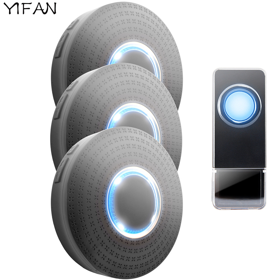 YIFAN Waterproof Wireless Doorbell EU Plug 300M Remote smart Door Bell Chime ring call 1 button 3 receiver LED light 110V 220V