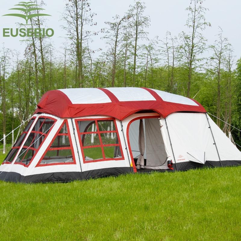 8-12 personas doble capa al aire libre familia dos dormitorios y una sala de estar forma de Casa equipo tienda de camping versión innice