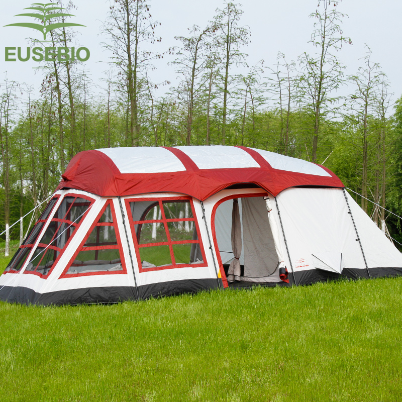 8 12Persons double layer outdoor family two bedrooms one liveing room house shape team camping tent