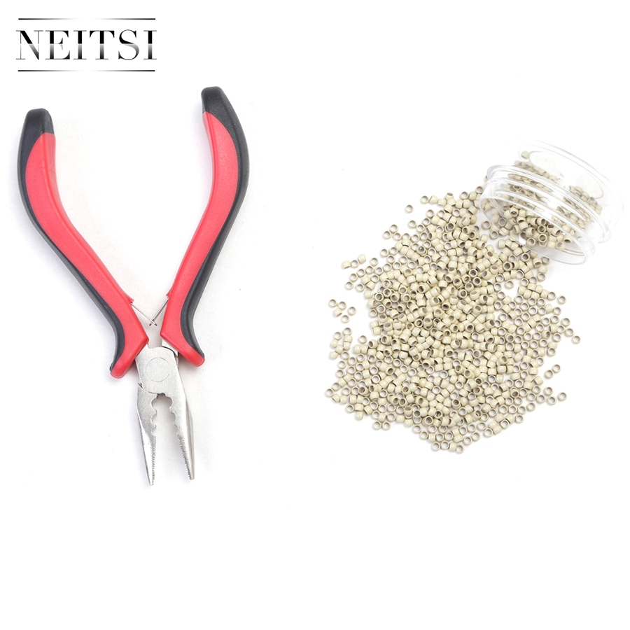 Neitsi 500 Beads Nano Rings With Plier for Links Hair Extensions