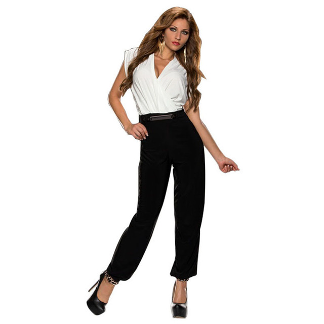 R70004 Deep V-neck sexy playsuits long pant fashion new recommend rompers  womens jumpsuit good 1417656853f3
