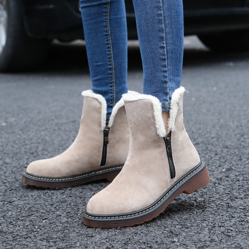 Fashion Women Winter Ankle Boots Female Flock Zip Genuine Leather Snow Boots Girls Plush Sapato Feminino Size 35-43 защитные наколенники налокотники no 1 5 5 j sh hb 038 f