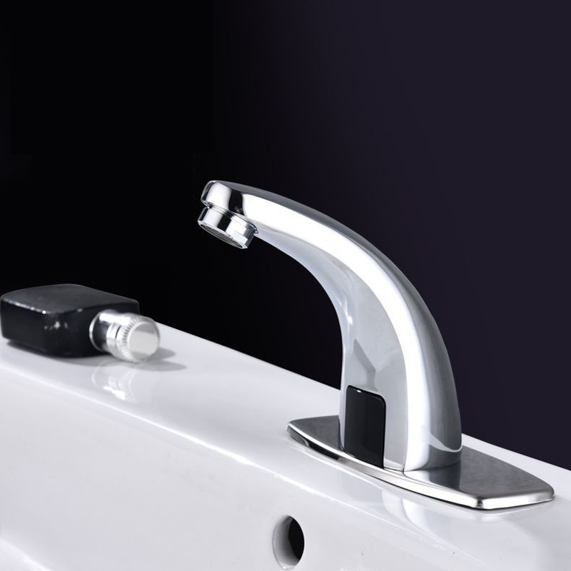 Bathroom Automatic Touchless Free Sensor Faucet Infrared Sink Sensor Tap Water Saving Inductive Electric Water Tap Single Cold