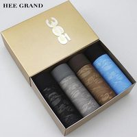 HEE GRAND 2017 New Arrival Men Printed Boxers Shorts Ice Silk Sexy Natural Color Comfortable Underwear