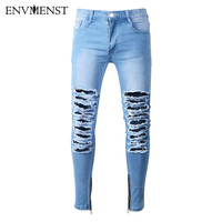 Envmenst Men's White Ripped Denim Pants With Holes Super Skinny Slim Fit Destroyed Distressed Jeans Joggers Trousers For Male