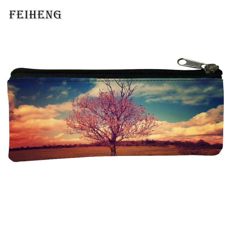 Cute  2016 Oxford Prints Landscape Children Gifts Black Pencil Bags for Girls Key Wallets Baby Boys Coin Purses for Kids