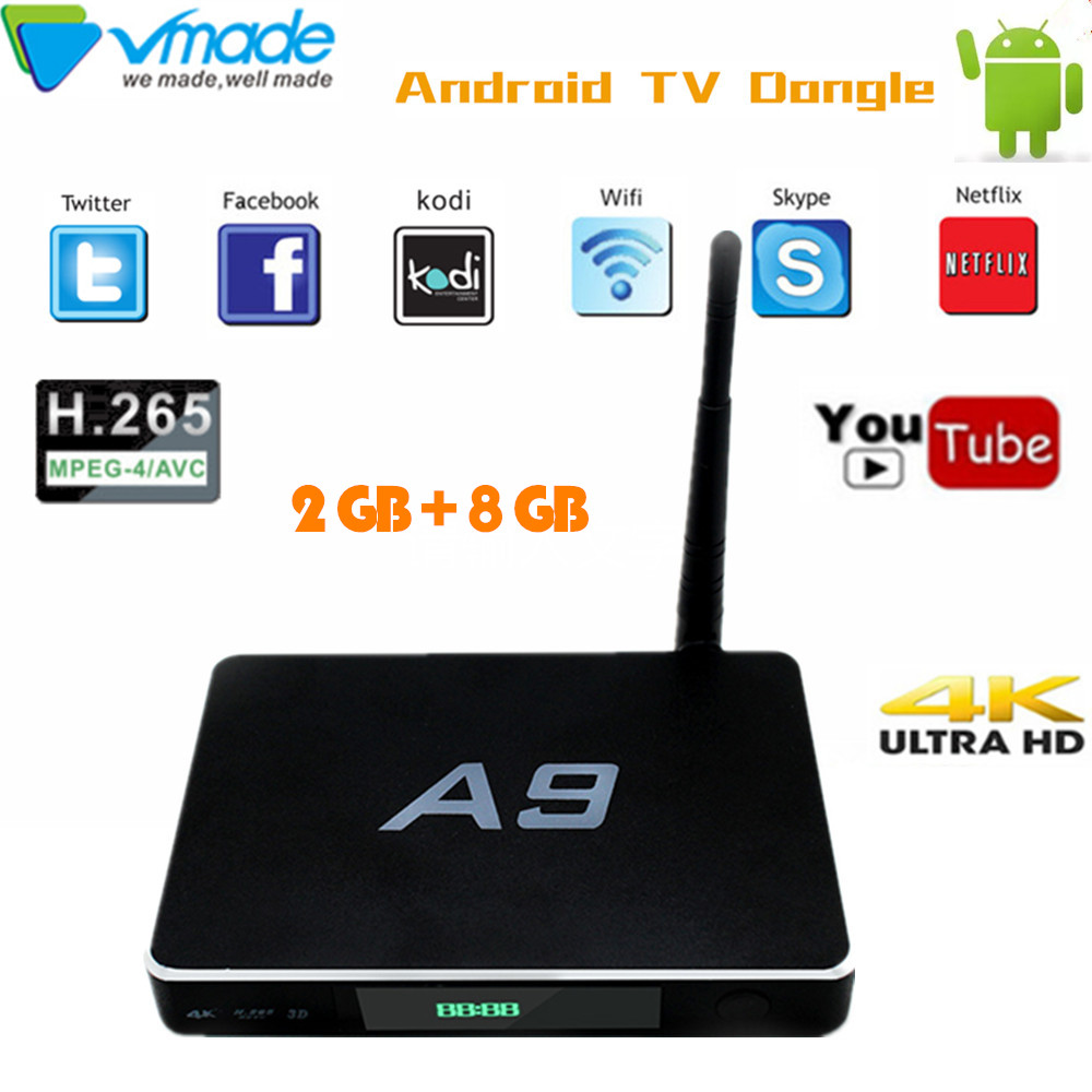 US $45 59 5% OFF|A9 smart TV BOX Android 6 0 OS WiFi Android TV Box 2GB +  8GB Amlogic S905X Quad Core Free Apps Set top box HDMI 4K Media Player-in