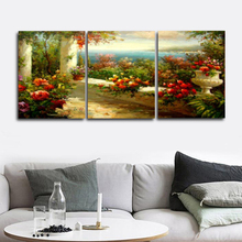 Laeacco Abstract 3 Panel Blooming Flowers Garden Posters and Prints Classic Wall Art Paintings Pictures Home Living Room Decor