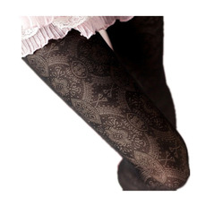 Trend Knitting High Quality 2014 new fashion retro hollow out totem velvet backing pantyhose tights sexy stocking 6 Colors