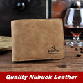 High quality Nubuck leather men wallets Vintage Fashion Horizontal short wallet Multifunction personality Famous brand purses