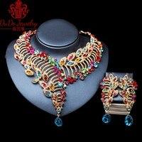 Afrikanischen Schmuck-Sets Mischen Farbe Halskette Armband Ohrringe Ring Kupfer Schmuck Set Roten Edelstein Kristall Frauen Hochzeit Schmuck 3 Farben