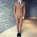 2016 nova moda Outono e inverno mashup clássico trespassado terno homem/vestido do terno do noivo (Paletó + colete + calças)