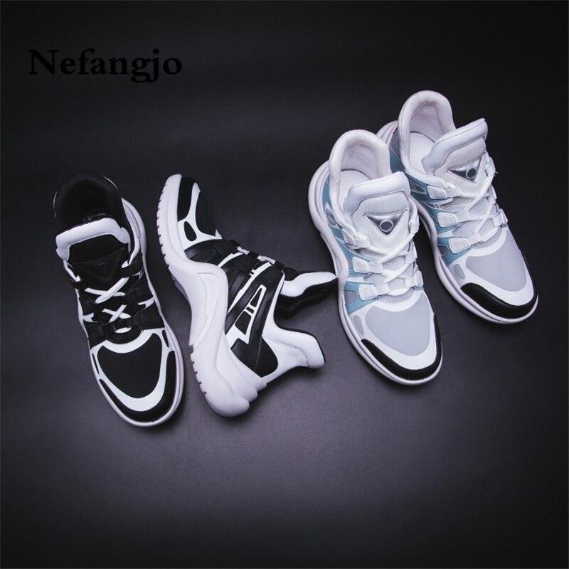 Maille De Nouvelle Respirant Sneaker En Fil Nefangjo Casual Fond Cuir Chaussures noir Couleur Automne Beige Style Low Street Top Épais Femmes SqO5Oax6w