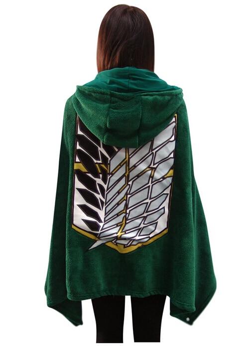 Cosplay Cartoon Anime Attack on Titan Hooded Wrap Cloak Green Shingeki no Kyojin Scouting Legion Shawel Blanket Fleece