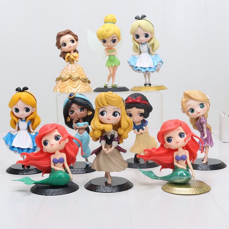 Q Posket Princess Figure Toy Snow White Alice in The Wonderland Ariel The Little Mermaid Beauty Model Dolls the little mermaid ariel princess dress cosplay adult ariel mermaid costume women mermaid princess ariel green dress cosplay