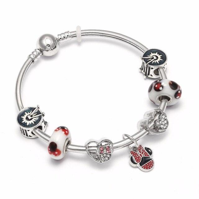 bd8868daeabc Mickey encanto pulseras y brazaletes Minnie Mouse joyería de la pulsera de