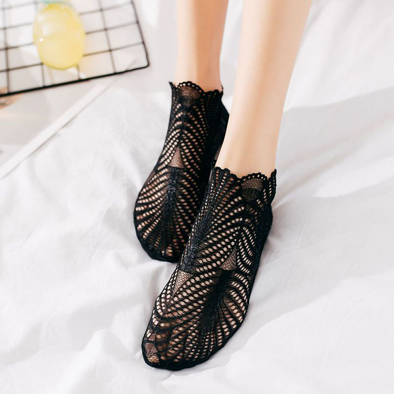 Vrouwen Korte Sokken Slippers Katoen Dunne 3d Print Lace Mesh Boot Sokken Low Cut Vrouwen Zomer Onzichtbare Leuke Enkelsokken